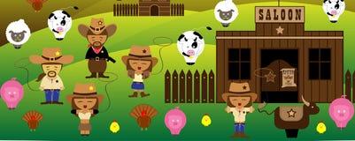 Vaqueiros dos tempos de América e bar e exploração agrícola velhos ilustração royalty free