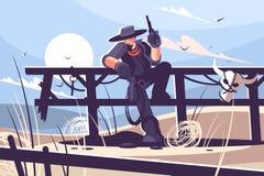 Vaquero brutal con el sombrero y revólver libre illustration