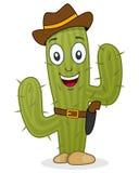 Vaquero Cactus Character con el arma y el sombrero ilustración del vector