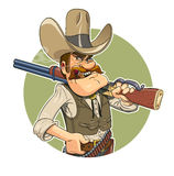 Vaquero con el arma ilustración del vector