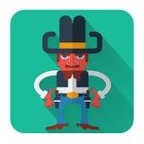Vaquero con los armas. Icono plano del estilo del vector Fotos de archivo libres de regalías