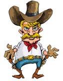 Vaquero de la historieta con los sixguns en su correa de arma stock de ilustración