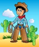 Vaquero de la historieta en desierto