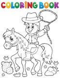 Vaquero del libro de colorear en el tema 1 del caballo ilustración del vector