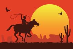 Vaquero del rodeo que monta un toro salvaje ilustración del vector