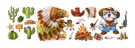 Vaquero del sistema del vector y etiquetas y elementos del oeste salvajes de la etiqueta engomada en estilo de la historieta libre illustration