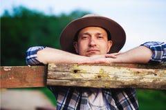 Vaquero en granja Imagen de archivo