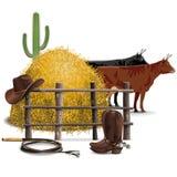 Vaquero Farming Concept del vector Foto de archivo libre de regalías