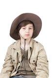 Vaquero joven con el sombrero grande Foto de archivo