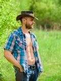 Vaquero muscular del torso de la cara sin afeitar del hombre Concepto de la granja Vaquero barbudo del individuo en naturaleza El fotografía de archivo