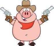 Vaquero Pig Cartoon Character que soporta dos revólveres Imágenes de archivo libres de regalías