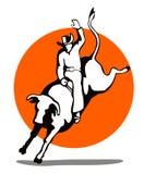 Vaquero que monta un toro Fotografía de archivo libre de regalías