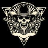 Vaquero Skull With Revolver stock de ilustración