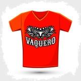 Vaquero - traduzione spagnola: Progettazione dell'emblema del cowboy Fotografia Stock