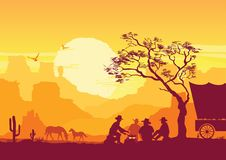 Vaqueros alrededor de una hoguera Paisaje americano occidental del desierto con los cactus y las montañas stock de ilustración