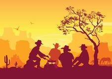 Vaqueros alrededor de una hoguera Paisaje americano occidental del desierto ilustración del vector