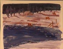 Vaqueros con las vacas stock de ilustración