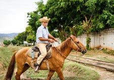 Vaqueros cubanos, gaucho y sus caballos Imágenes de archivo libres de regalías