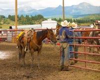 Vaqueros cubiertos con fango en un rodeo en Colorado Imágenes de archivo libres de regalías
