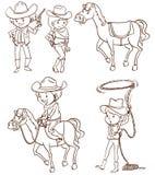 Vaqueros de sexo masculino y de sexo femenino libre illustration