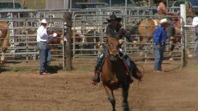 Vaqueros del rodeo - cámara lenta galopante del caballo metrajes