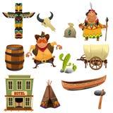 Vaqueros e iconos de los indios stock de ilustración