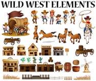 Vaqueros y edificios del oeste salvajes Foto de archivo libre de regalías