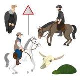 Vaqueros y elementos del desierto ilustración del vector