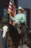 Vaqueros y muchachas, 115o Dragon Parade de oro, Año Nuevo chino, 2014, año del caballo, Los Ángeles, California, los E.E.U.U. Foto de archivo