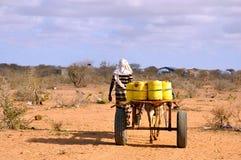 Varón africano con agua que lleva del carro traído por caballo al pri Fotografía de archivo