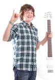 Varón adolescente con la guitarra eléctrica Fotografía de archivo libre de regalías