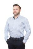 Varón adulto con una barba Aislado en blanco imagen de archivo