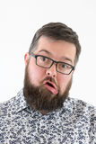 Varón adulto joven torpe en camisa Fotografía de archivo