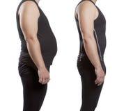 Varón antes y después de la pérdida de peso Foto de archivo