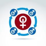 Varón azul y muestras femeninas rojas, símbolos del género Foto de archivo