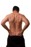 Varón blanco con dolor de espalda - torso descubierto Foto de archivo libre de regalías
