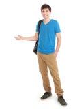 Varón casual joven que presenta algo Imagen de archivo libre de regalías