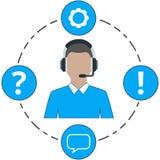Varón de la ayuda - color, iconos del servicio y auriculares azules Imágenes de archivo libres de regalías