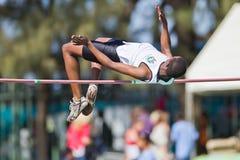 Varón del Alto-Salto del atletismo Fotografía de archivo libre de regalías