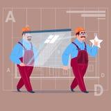 Varón del fondo de Over Abstract Plan del trabajador de construcción del casco de Carry Glass Wearing Uniform And de dos construc Stock de ilustración