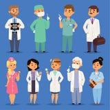 Varón del vector de los doctores y médico doctoral de sexo femenino del retrato del carácter o profesional del trabajador médico  ilustración del vector