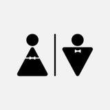 Varón del vector e icono femenino del WC Fotos de archivo libres de regalías