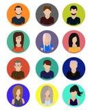 Varón e iconos femeninos de los iconos de los avatares de las caras ilustración del vector