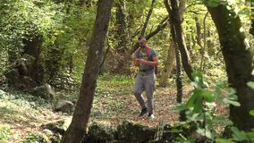 Varón en bosque solamente que camina almacen de metraje de vídeo