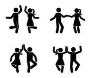Varón feliz y figura femenina del palillo que bailan junto Pictograma blanco y negro del icono del partido stock de ilustración
