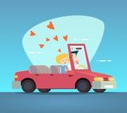 Varón feliz y hembra del coche convertible de la historieta Imagenes de archivo