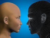 Varón humano conceptual del wireframe 3D o de la malla y cabeza femenina Imágenes de archivo libres de regalías