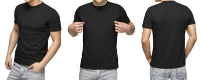 Varón joven en la camiseta negra en blanco, el frente y la visión trasera, fondo blanco Diseñe la plantilla y la maqueta de la ca fotografía de archivo