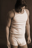 Varón joven en sepia de la ropa interior Fotografía de archivo libre de regalías
