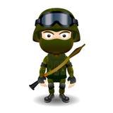 Varón militar de la máscara del negro del combate del carácter del RPG del soldado Imágenes de archivo libres de regalías